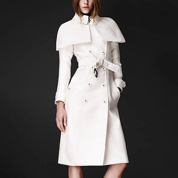 Fashionable double-breasted lapel long-sleeved women's coat