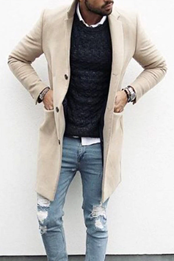 Fashion stand collar solid color single-breasted men's jacket