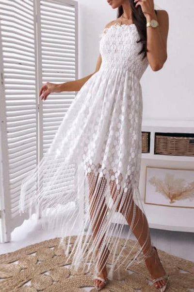 Sexy Word Collar Sleeveless Tassel Stitching Dress