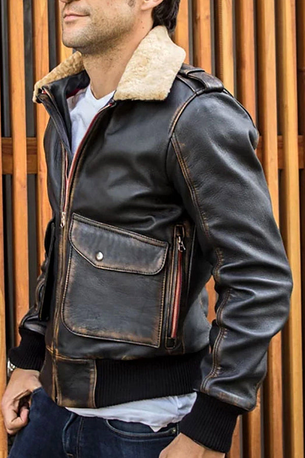 Men's street beat leather multi-pocket lapels jacket