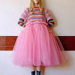Sweet Round Neck Multicolor Striped Long Sleeve Puff Gown Dress