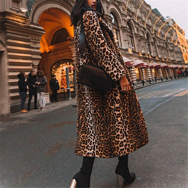Ladies Fashion Casual Leopard Plush Coat