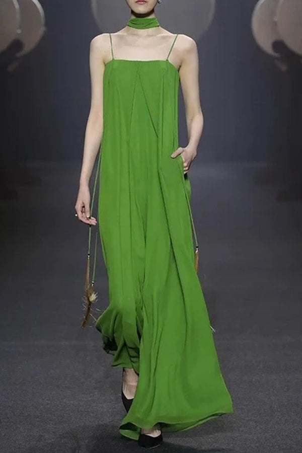 Solid Color Pleated Loose Sling Wide Leg Jumpsuit