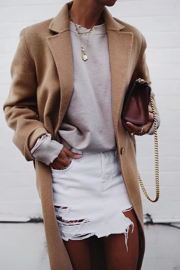 Brief Slit Pockets Suit Collar Long Sleeve Long Coat