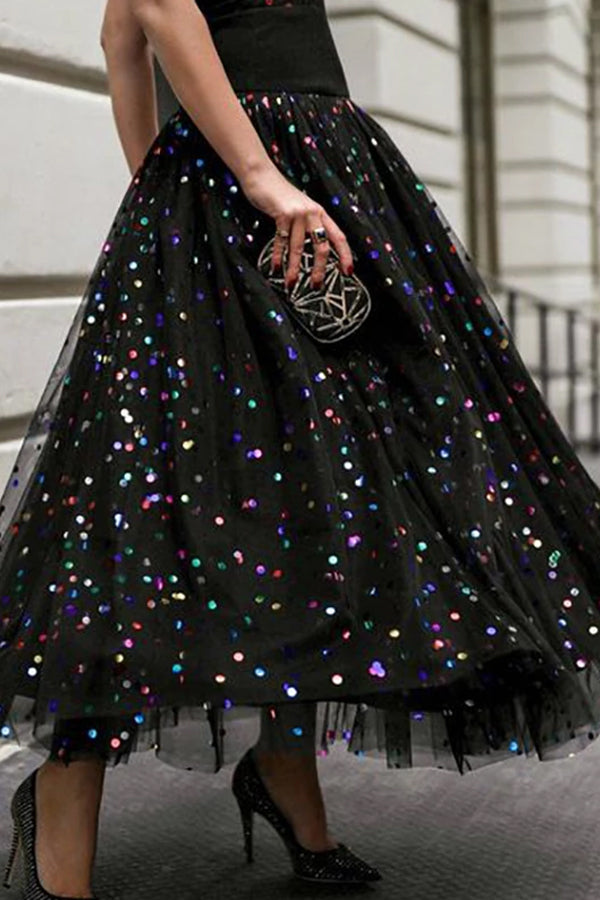 Fashion sequined half-length classic dress