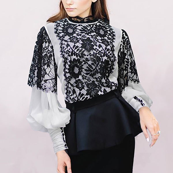 Women's casual lace stitching top