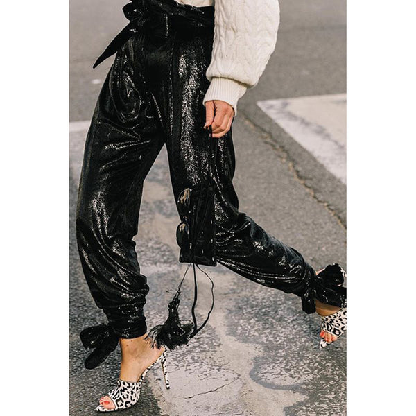 Fashionable pure-color sequined trousers