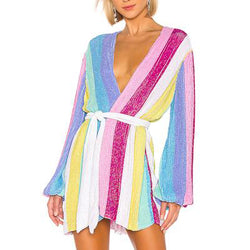 Rainbow Printed Robe Dress