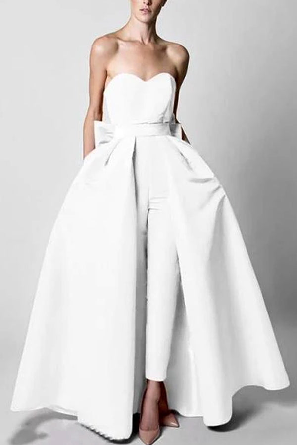 Commuting Bare Back Boat Neck Belted Pure Colour Off-Shoulder Jumpsuit Evening Dress