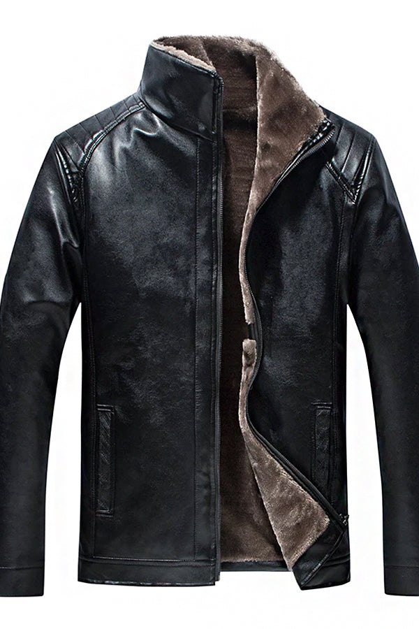 Middle-Aged Men's Fleece Thickening Leather Jacket