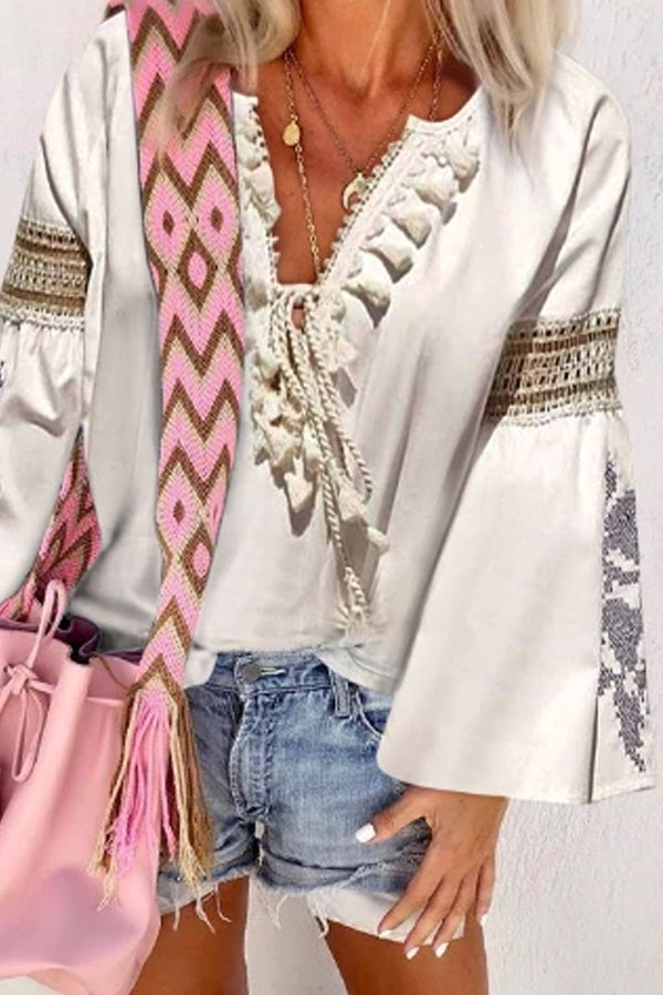 Women's Casual V-Neck Bracelet Sleeve Belted Blouse
