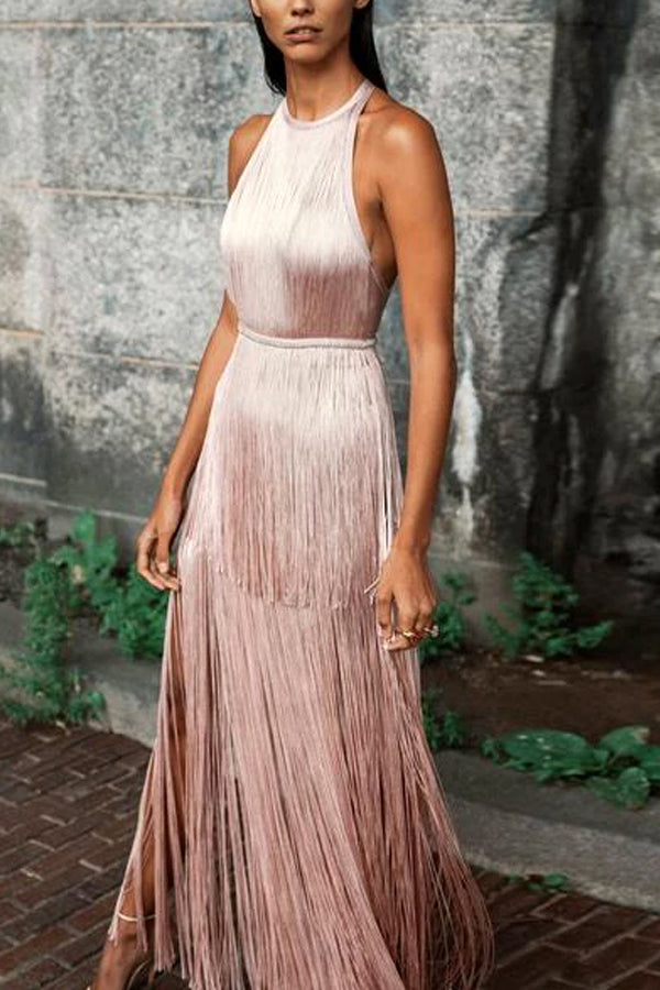 Fashion Elegance Backless Sleveless Tassel Maxi Evening Dress
