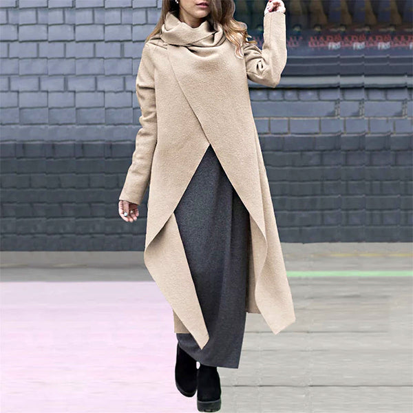 Women's Fashion Stacked Collar Long Woolen Coat