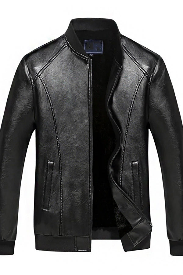 Man's Casual Stand Collar Leather Jacket