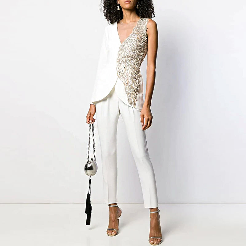 Stylish V Neck Splicing Jumpsuit