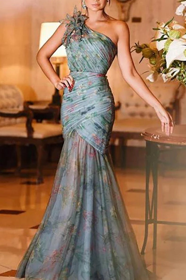 Elegant Sloping Shoulder Chiffon Cross Printed Colour Evening Dress