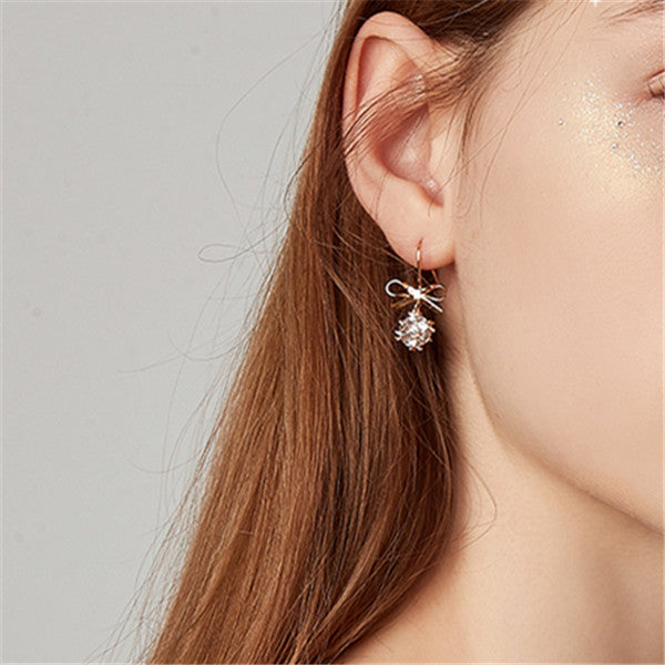 Fashion Minimalist Bow With Diamonds And French Earrings
