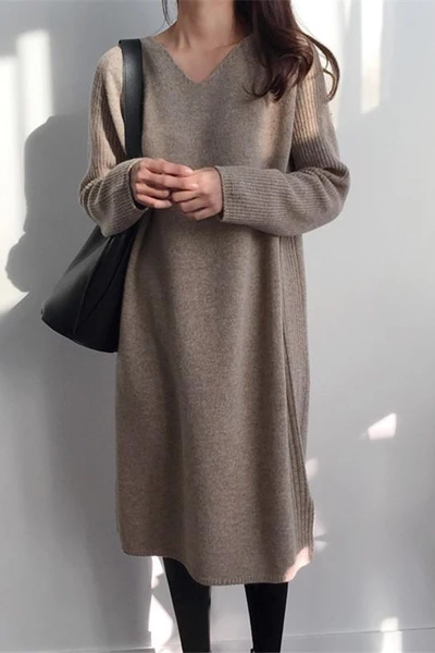 Fashion V Collar Long Sleeve Flattering Knitted Sweater Maxi Dress