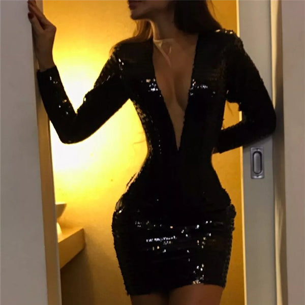 Finalpink Sexy Deep V-neck Sequin Long Sleeve Mini Dress