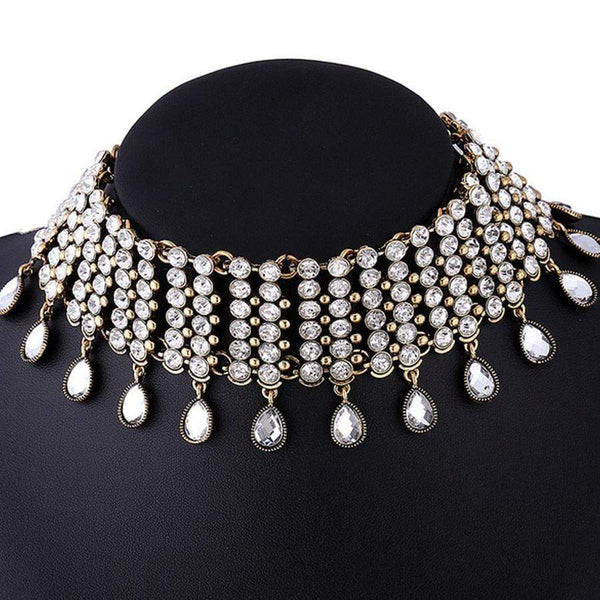 Wide Rhinestone Water-Drop Choker Necklace