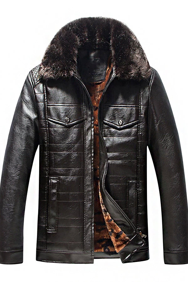 Man's Fashion Plush Leather Jacket