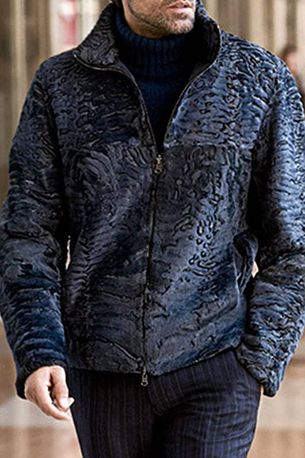 Men's Casual Printed Long Sleeve Zipper Jacket