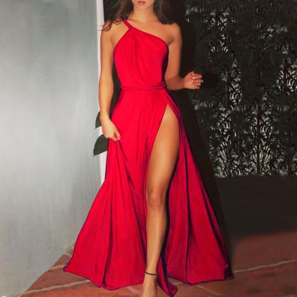 Sexy One Shoulder Sleeveless Party Maxi Dress