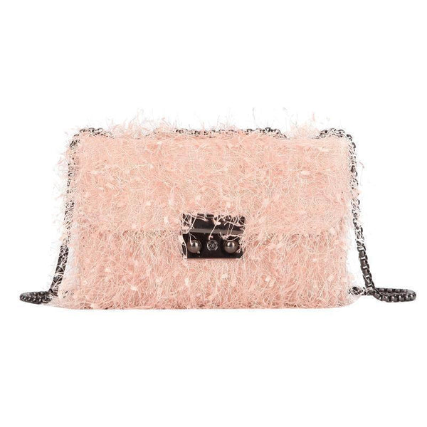 Lamb Wool Square Bag Pig Nose Lock Single Shoulder Slant Cross Female Bag