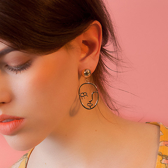 Fashion Bright Gold Geometric Openwork Abstract Face Earrings