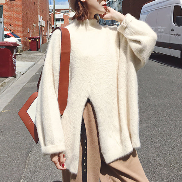 Casual Pure Colour Half High Collar Slit Mink Cashmere Knitwear