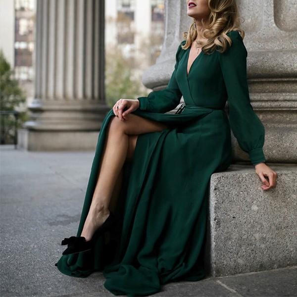 V-Neck Long-Sleeve Posed Maxi Dress