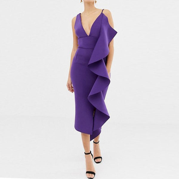 Sexy V Neck Pure Colour Ruffled Sling Bodycon Dress