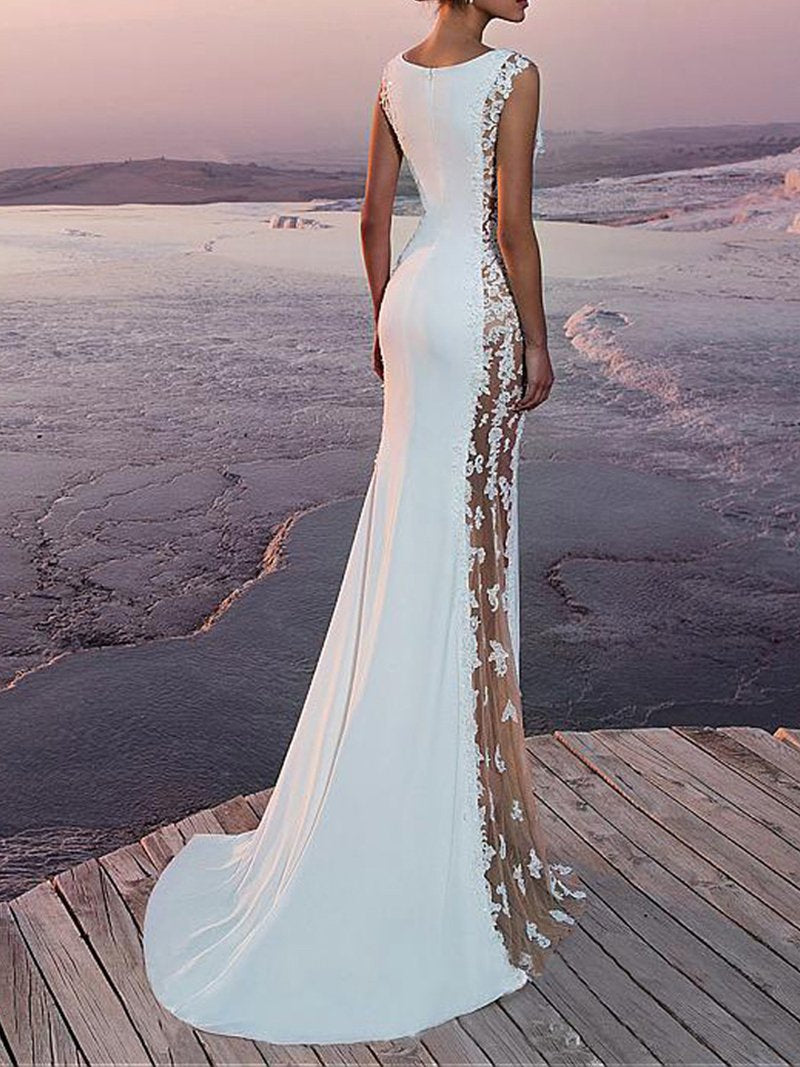 Sexy See-Through Sleeveless Fishtail Evening Dress