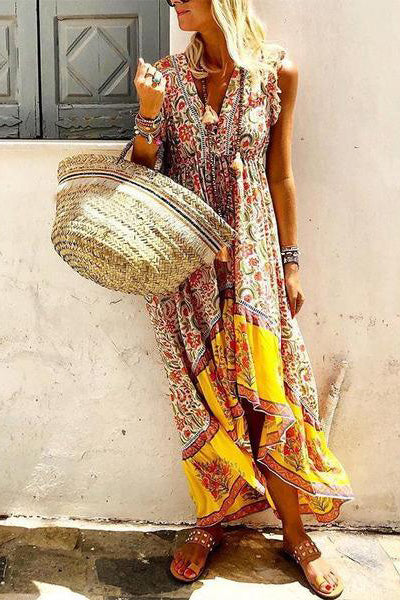 Bohemian V Neck Printed Colour Splicing Sleeveless Dress