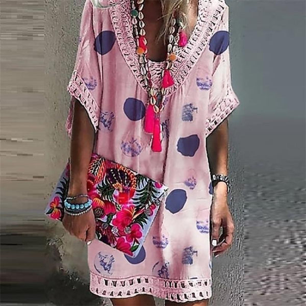 Enonocal Vacation V Collar Lace Split Joint Printed Loose Dress