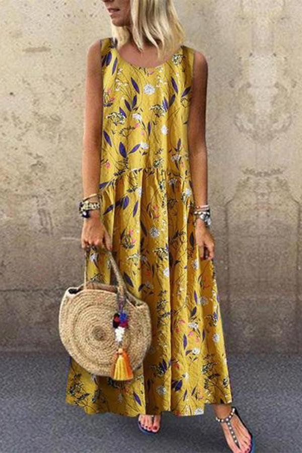 Enonocal Fashion Floral Stitching Round Neck Sleeveless Loose Dresses