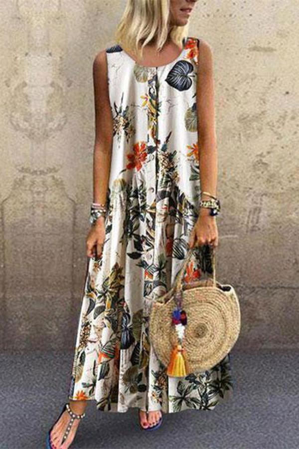 Enonocal Fashion Botanical Jacquard Sleeveless Dresses