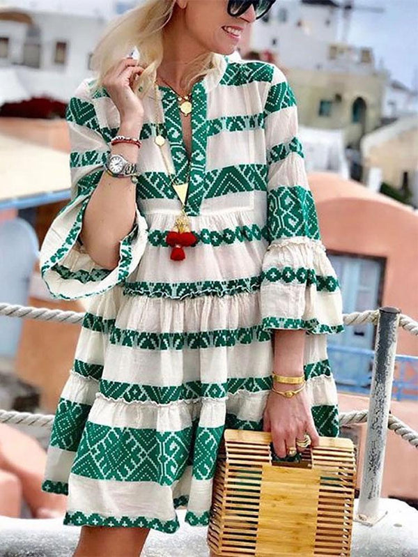 Bohemian Printed Colour Splicing Pleated  Sleeve Dress