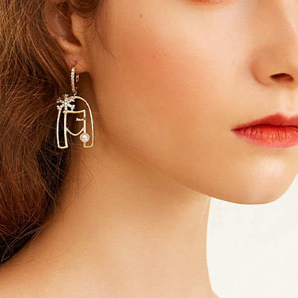 Fashion Creative Hollow Out Snowflake Girl Metal Earrings