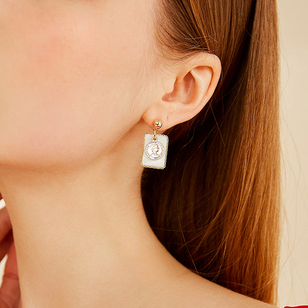 Vintage Palace Style Portrait Coin Shell Earrings