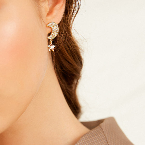 Elegant Fashion Star Moon Asymmetry Exquisite Earrings