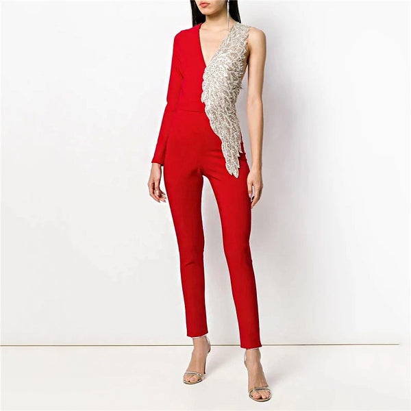 Fashion Patchwork V Neck Jumpsuit BFCM