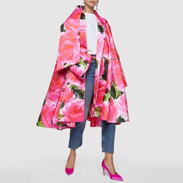 Rose Print Satin Pink Coat