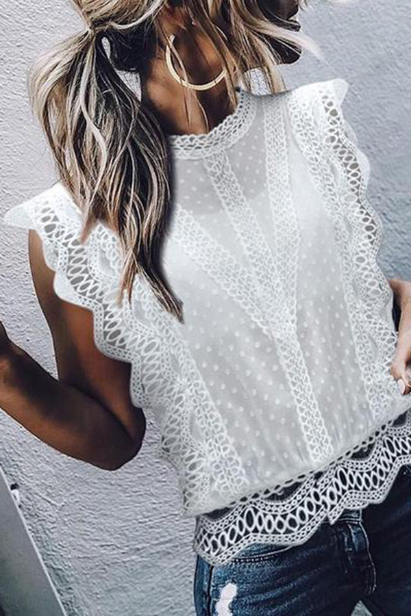 Elegant Lace Splicing Hollow Out See-Through Shirt