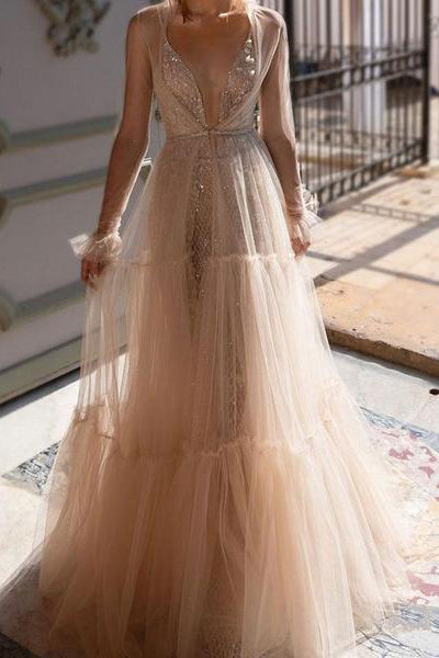 Sexy Deep V Collar Perspective Evening Dress