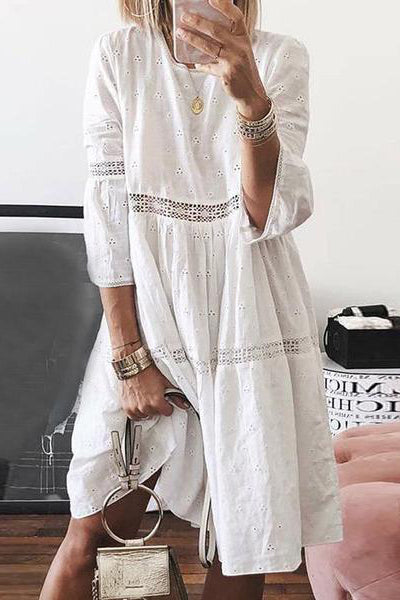 Elegant Lace Splicing Sleeve Inwrought Dress