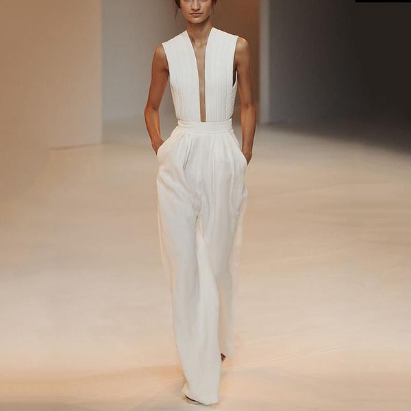Modern Fashion Sleeveless High-Waist White Colour Jumpsuit