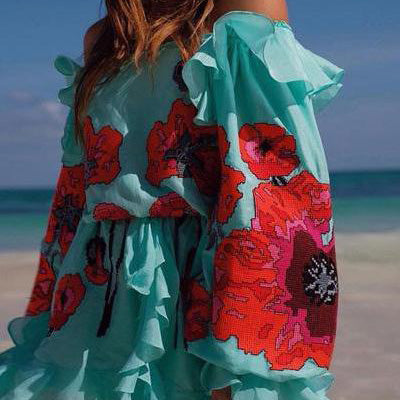 Bohemian Printed Colour Off-Shoulder Dress