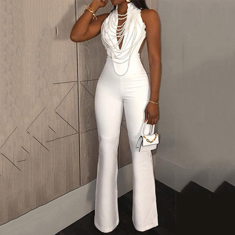 Elegant Pure Colour V Neck Bare Back Tight Resist Jumpsuit