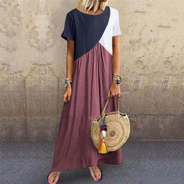 Women's Stitching Color Short-Sleeved Dress